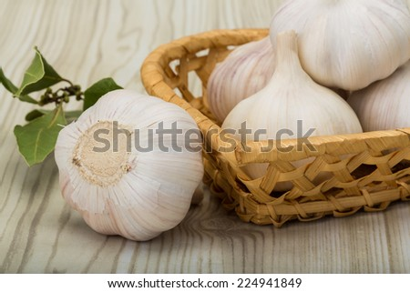 Heap of garlick - on the wooden background