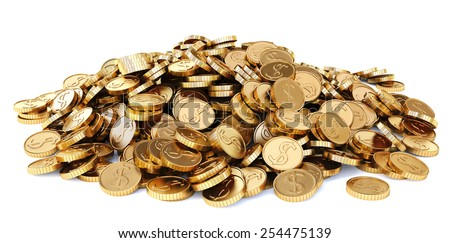heap of gold coins. Isolated on white background. - stock photo