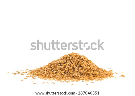 Heap of golden flaxseed or linseed isolated on white background - stock photo