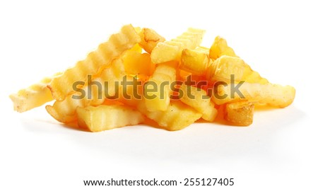 Heap of golden fried crinkle cut potato chips or French fries for a delicious snack or appetizer isolated on white - stock photo