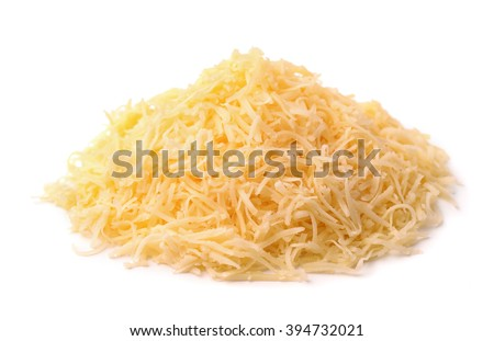 Heap of grated cheese isolated on white - stock photo