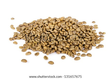 Heap of green coffee beans isolated on white background - stock photo