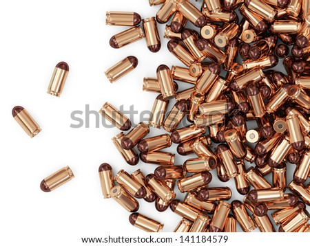 Heap of Gun Bullets isolated on white background with place for Your text