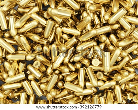 Heap of Gun Bullets 9mm Background. Military Weapons Concept.