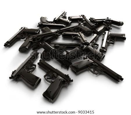 Heap of guns lying on a white surface - stock photo