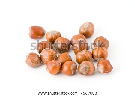 heap of hazel-nuts isolated on white background
