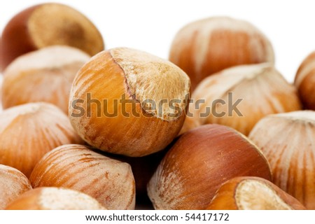 Heap of hazelnuts on white background