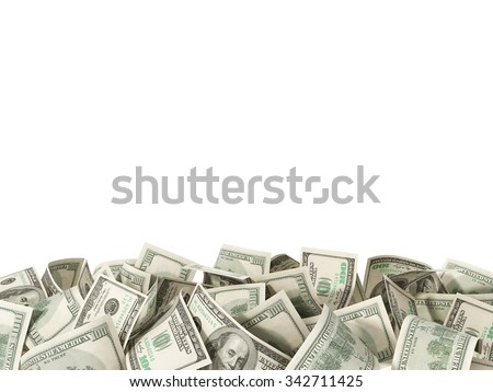 Heap of hundred Dollar Bills isolated on white background with place for your text - stock photo