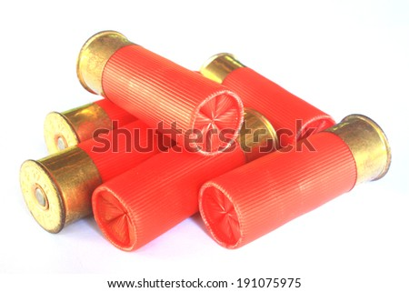 Heap of hunting cartridges for shotgun 12 caliber       - stock photo