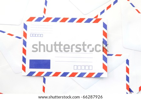 heap of isolated air mail envelope - stock photo