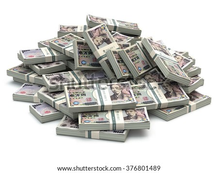 Heap of japanese yen pack money isolated on white. 3d - stock photo