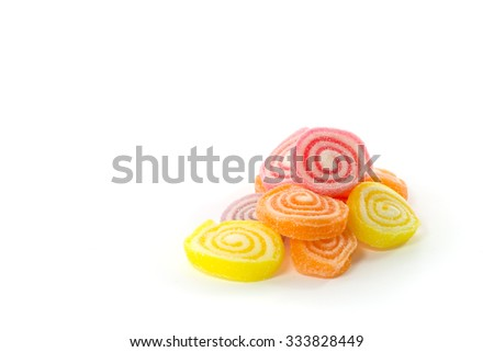 Heap of jelly sweet, flavor fruit, candy dessert colorful on white background - stock photo