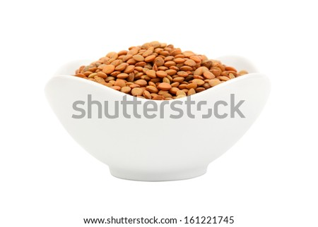 Heap of lentil seeds close up