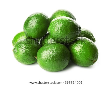 Heap of limes, isolated on white - stock photo