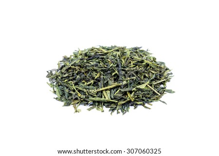 Heap of loose green tea Sencha isolated on white background - stock photo