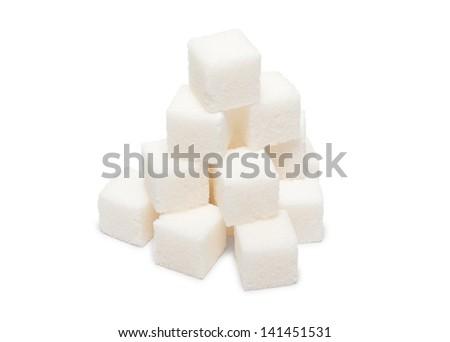 Heap of lumpy sugar isolated on white background - stock photo
