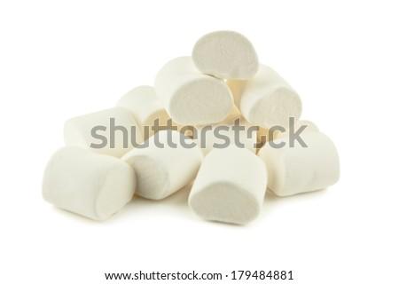 heap of marshmallow on white - stock photo