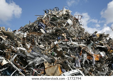 Heap of metal garbage used for recycling.