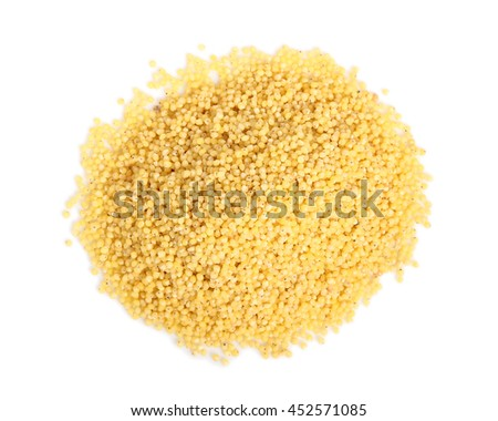 Heap of Millet Grains. Isolated on white background. Directly Above.