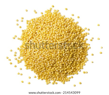Heap of millet seeds isolated on white - stock photo