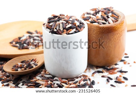 Heap of mixed rice on white background - stock photo