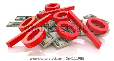 heap of money and percentages in the design of information related to finance and business - stock photo