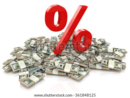 heap of money and sign percentage in the design of information related to finance and business