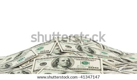 Heap of money isolated on white background - stock photo