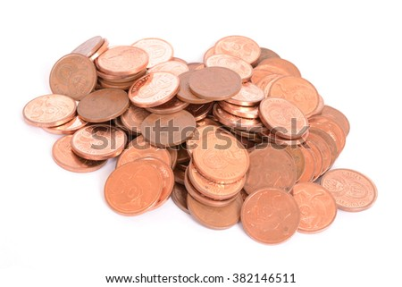 Heap of money with five cents copper coins of the South African currency Rand. Image isolated on white studio background. - stock photo