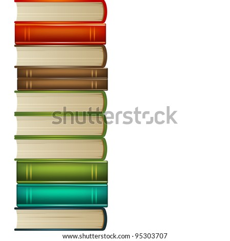 Heap of multi-coloured books isolated on white background