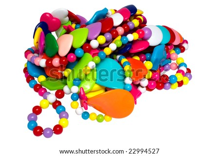 Heap of multi-coloured costume jewellery on a white background it is isolated - stock photo