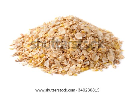 Heap of multi grain flakes isolated on white - stock photo