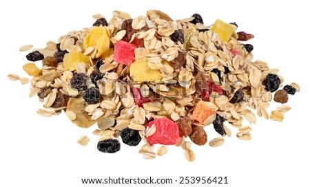 Heap of musli on a white  - stock photo