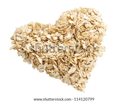 heap of oat flakes in a shape of heart angle shot