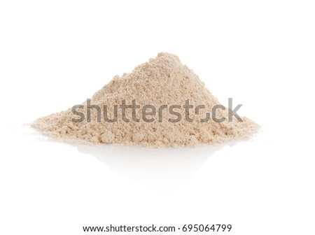 Heap of oat flour on white background