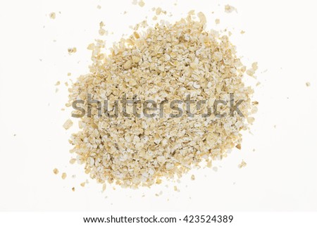 Heap of oatmeal, on white background