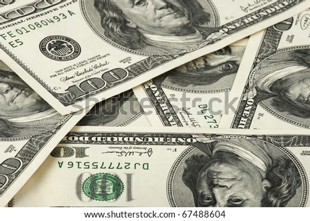 heap of old 100 dollars banknotes - stock photo