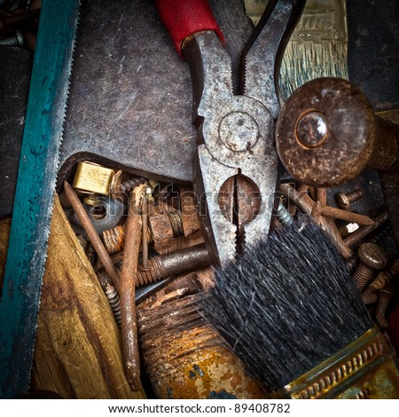 Heap of old rusty tools - stock photo
