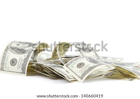 Heap of one hundred dollar bills U.S. on white background - stock photo