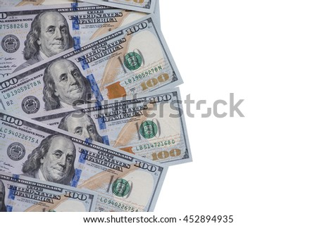 Heap of one hundred US dollar banknotes with text space. - stock photo