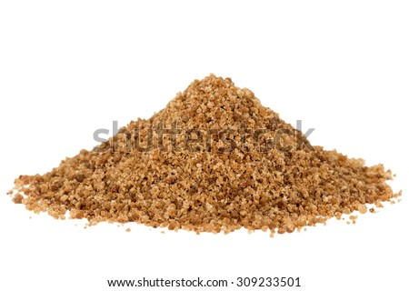 Heap of organic brown coconut palm sugar, isolated on white background. - stock photo
