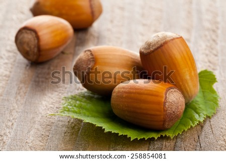 Heap of organic hazelnuts on hazelnut leaf over wood background - selective focus macro shot - stock photo