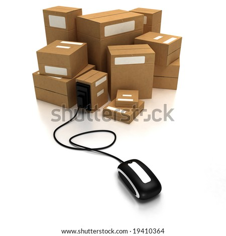 Heap of packages with a computer mouse - stock photo