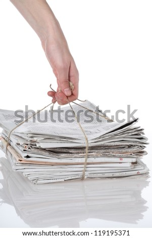 Heap of paper tied with string, isolated - stock photo