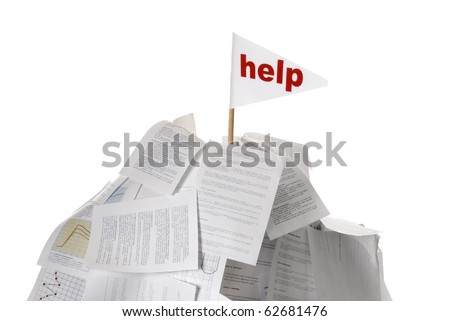 heap of papers with help flag sticking out on white background