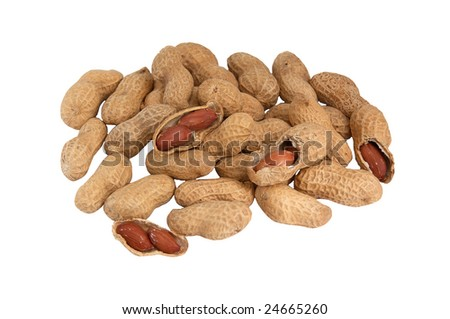 Heap of peanuts isolated on a white background.