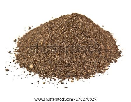 heap of pepper powder on white - stock photo
