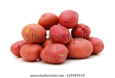 Heap of Perfect Raw Red Potatoes isolated on white background - stock photo