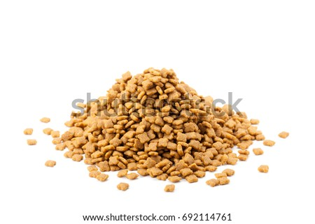 heap of pet dried food isolated on white background