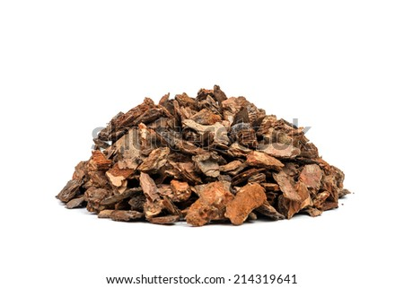 heap of pine bark isolated - stock photo